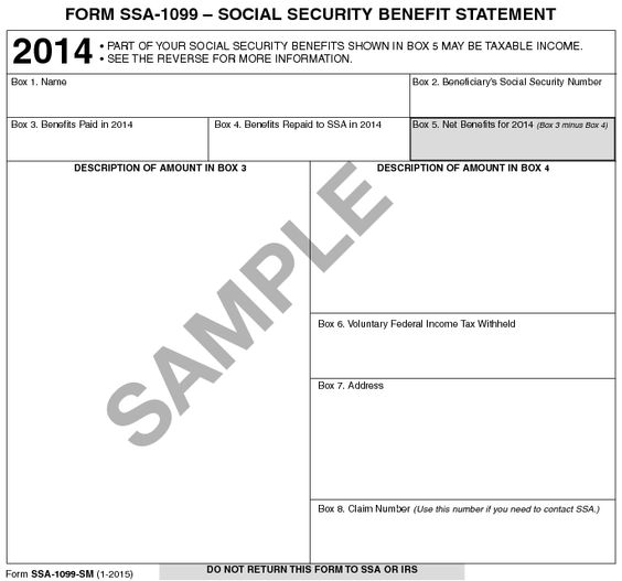 Form SSA-1099 -- Social Security Benefit Statement 2014 Business - Social Security Form