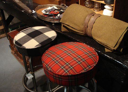 Plaid bar stools...vintage blankets