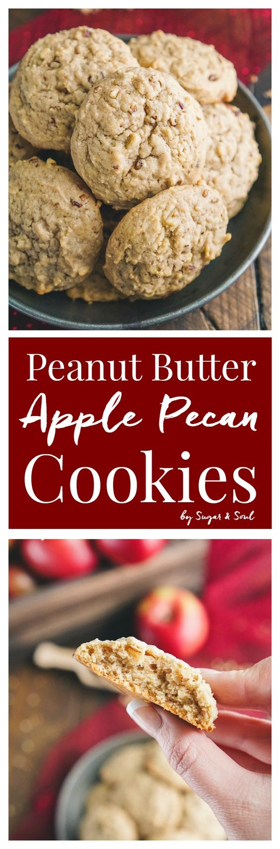 These Peanut Butter Apple Pecan Cookies are everything we love about the classic combo with a touch of fall! Soft and cakey with a slightly crisp outer shell and ready to eat in 25 minutes!