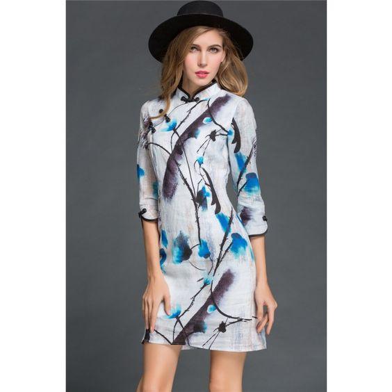 Fifth Sleeve Collar Floral Printed Slim Women's Cheongsam Dress