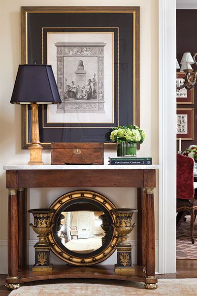 """""""Hampton's love of classicism is evident in this entry way composition."""" Design by Alexa Hampton. Photo by Steve Freihon. """"Alexa Hampton,"""" Flower Magazine (July - August 2014)."""