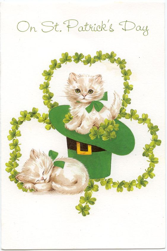 This is a wonderful card with the little kittens for St. Patrick's Day.: