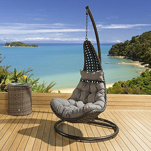 outdoor modern gardenoutdoor hanging chair black rattan grey cushions