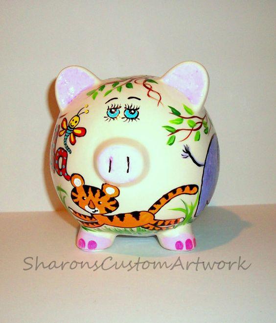 Piggy bank ceramics and hand painted on pinterest - Ceramic piggy banks for boys ...