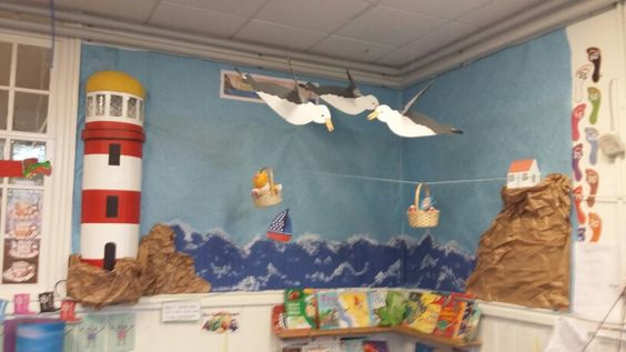Our new classroom display for The Lighthouse Keepers Lunch with a working light in the lighthouse. Children's work to follow  x