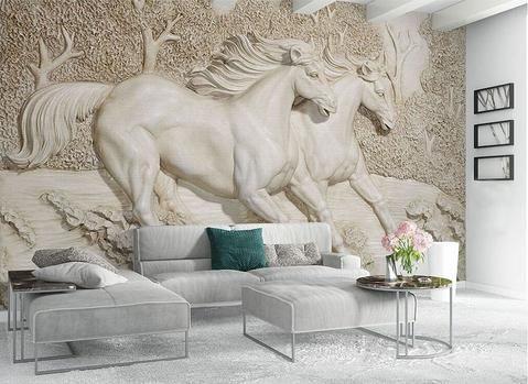 3d Relief Horse Wallpaper Horse Mural Plaster Wall Art Wall