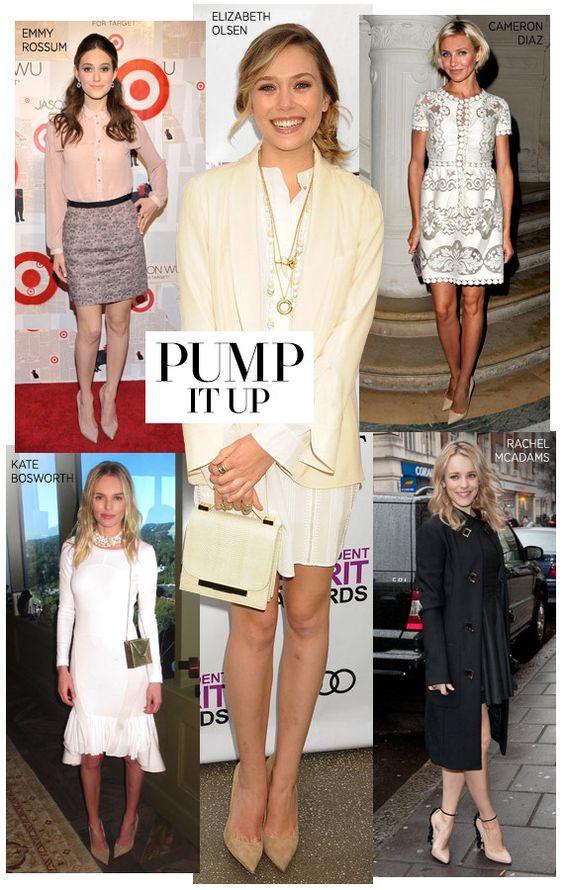 Classic nude pumps lengthen legs. #harpersbazaar #fashion #trends #heels #elizabetholsen