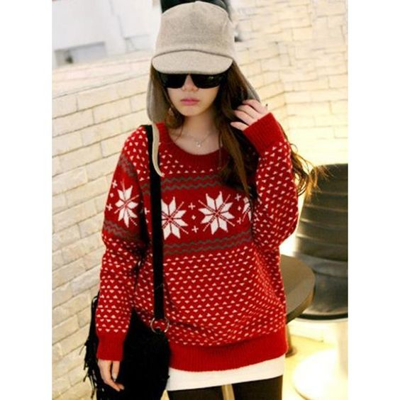 Round Neck Snowflake Sweater Red$38.00 ($38) found on Polyvore