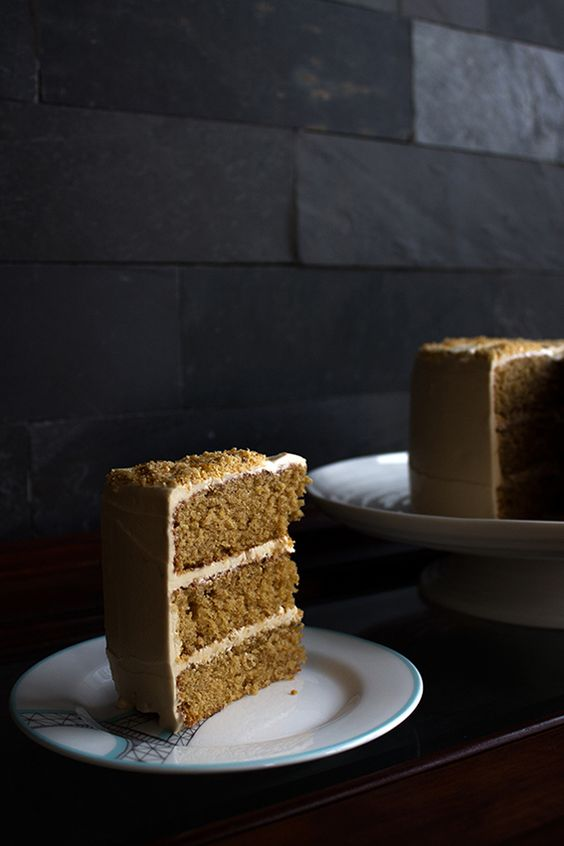 """Toffee Cake with Toffee Buttercream and Hazelnut Praline ... a gorgeous cake recipe from """"The Patterned Plate""""."""
