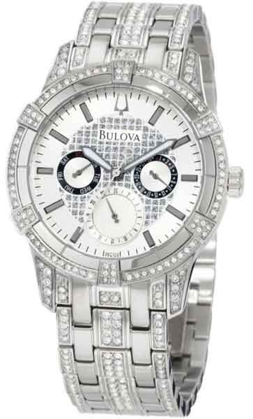 bulova men s 96c109 crystal multi function watch classic design bulova men s 96c109 crystal multi function watch classic design swarovski crystals silver