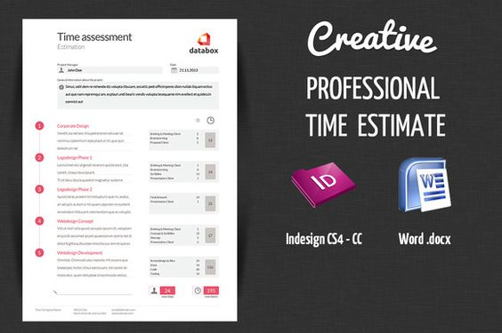 Professional Time Estimate by OFFI on @creativework247 - professional estimate template