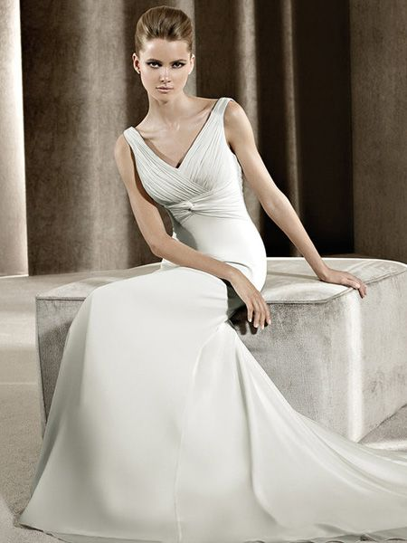 Elegant wedding dress designed with v-neck and pleated bodice. Satin and chiffon fabric is beautiful in look and may also give you comfortable wearing experience. Free made-to-measurement service for any size. Available colors seen as in Color Options.