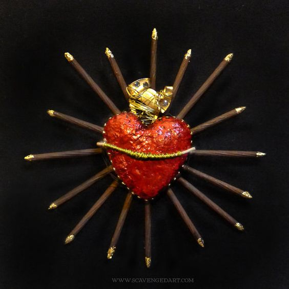 Sacred Heart  Found Object Wall Art made in New York City with Wired Bones Rhinestones  27