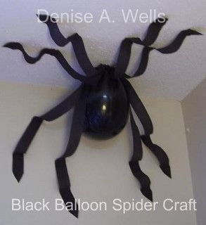 Black balloon spider. Easy craft!! Black balloon, black create paper & tape, 8 legs are actually 4 lengths devided,taped and trimmed to taper.Tack balloon 1st thru rim above knot.