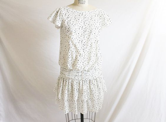 Vintage 80's White Black Polka Dots Drop by perniejaynevintage, $40.00