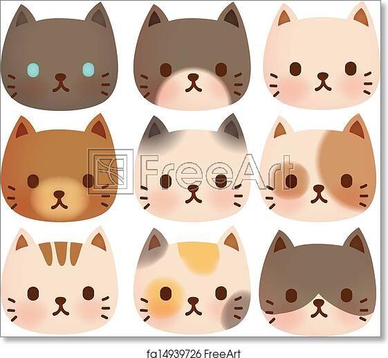 Vector File Eps10 Freeart Fa14939726 Cat Face Drawing Cute Cat Face Cat Vector
