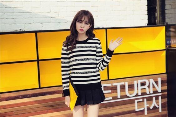 CW15315 Stripe fashion slim college style long sleeve winter sweater