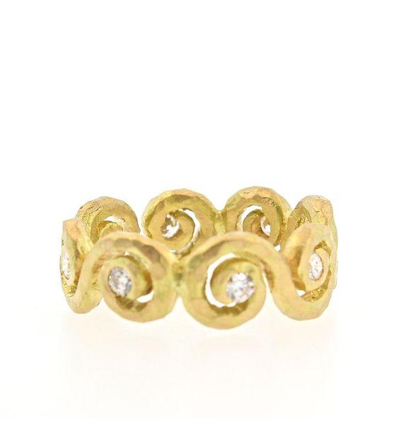 Pamela Froman Scroll Eternity Band - 18K Yellow Gold with White Diamonds .35 TCW Scroll Eternity Band Ring