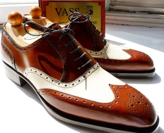 "ascotshoes: "" Up close and personal on a pair of Vass MTO spectators. Vass Model: Oxford Budapest Vass Last: K Vass Colour: Antique Cognac and Cream Calf. Use hashtags for all Vass Shoes: #Vassshoes..."