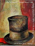 "Lincoln's Hat 14""x18"" acrylic on canvas board"