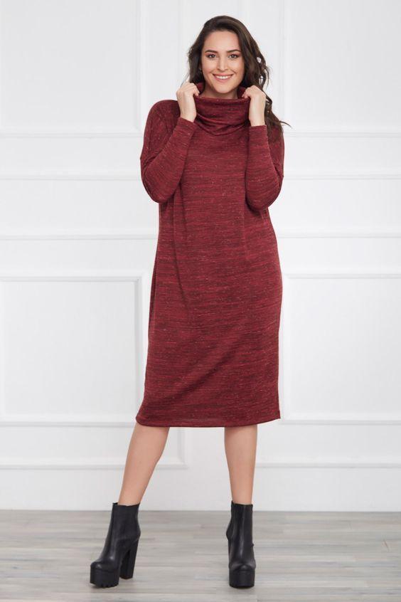 2019 Triko Elbise Modelleri Bordo Midi Bogazli Salas Elbise Modelleri Elbise Moda