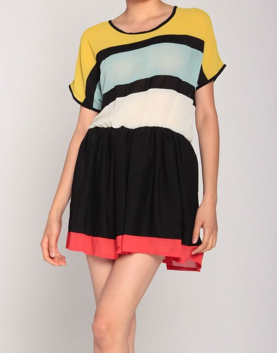 COLORBLOCK STRIPED PLEATED FLARE DRESS