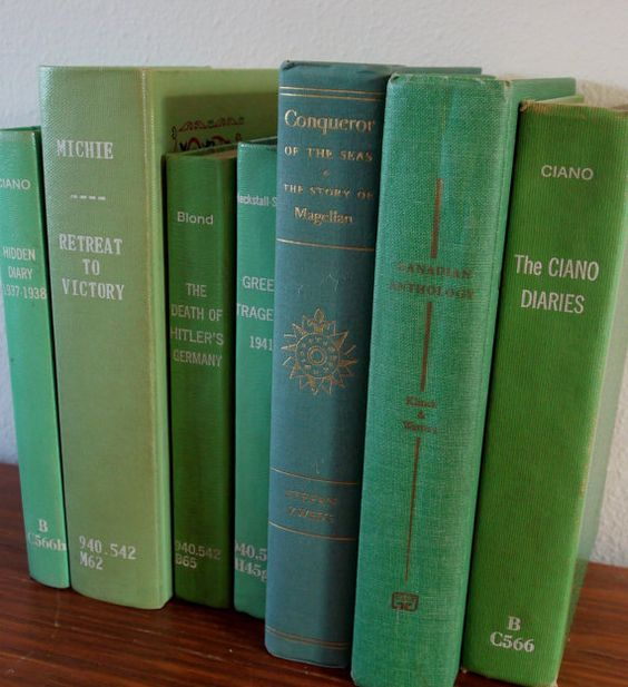 Vintage book collection vintage green books by AnUnfamiliarRing, $50.00