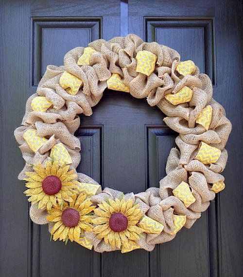 sunflower multicolored burlap wreath