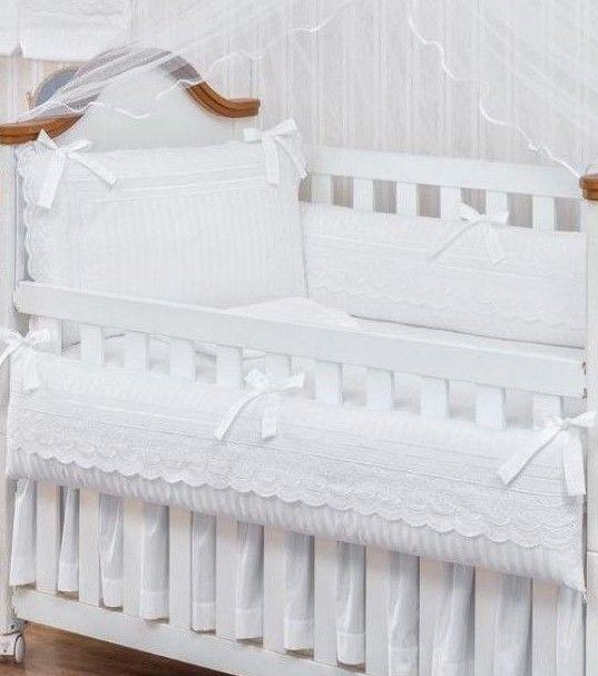 White Lace Baby Girl Boy 7pc 300 Threadcount Nursery Crib Bedding