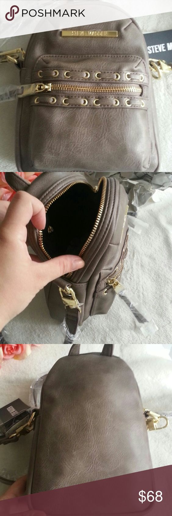 "NWT Steve Madden Mini Backpack Crossbody Cute crossbody bag Brand new with tag Removable and adjustable crossbody strap Retail $68 Measurements 9"" x 6.5"" x 3.5"" Steve Madden Bags Crossbody Bags"