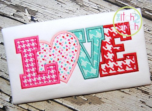 Love Heart 2 Applique Design For Machine by TheItch2Stitch on Etsy