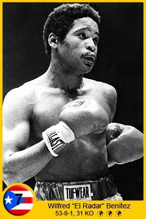 Wilfred Benítez (born September 12, 1958 in New York, New York), is a Puerto Rican boxer. He is remembered best as a skilled and aggressive fighter with exceptional defensive abilities who won world championships in three separate weight divisions, and was the youngest world champion in boxing history at the age of 17. Benitez has been a member of the International Boxing Hall of Fame since 1996.