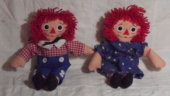 "ENDING SOON!  LOW STARTING BID!  NR Raggedy Ann and Andy Dolls Hasbro by Johnny Gruelle 12""  1996 70101/70103 w/tags #Dolls"