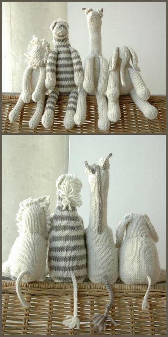 DIY Knit Safari Animals pattern for $12.  This would make a great present for a baby shower!: