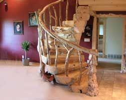 rustic wood staircase
