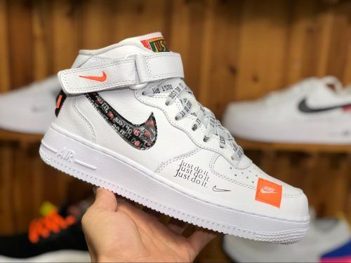 Nike Air Force 1 Mid Just Do It White Orange Aq8650 100 3 Zapatos Zapatillas Ropa
