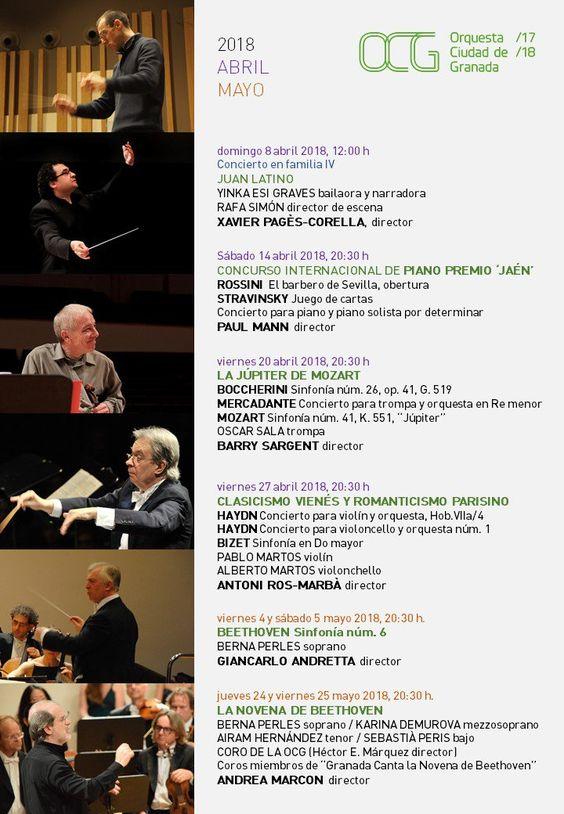 #OrquestaSinfonica #OrquestaSinfonicadeGranada  Estas son las interesantes actividades que la OCG tiene programadas para los meses de Abril y Mayo de 2018. ¡No faltéis! Os esperamos en el Auditorio Manuel de Falla. Entradas -> http://bit.ly/2DpvZRS  #OCGemociona
