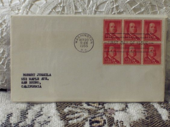 http://ajunkeeshoppe.blogspot.com/  First Day Issue/Cover-Stamp-Benjamin Franklin 1955 1/2c 8ozP724B4HP1154