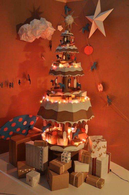 Cardboard Christmas trees. Genius.