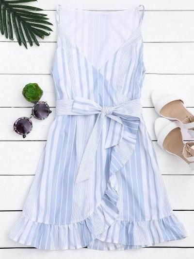 AdoreWe - Zaful BStripes Belted Ruffles Mini Dress - AdoreWe.com