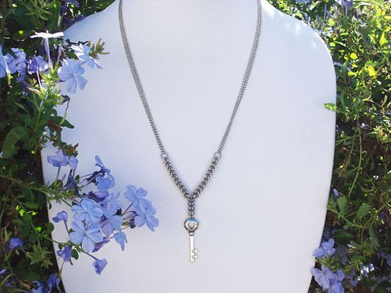 Key To My Heart Chainmail Necklace by RingedDesigns on Etsy, $25.98 #onfireteam #handmade #lacwe #jewelry