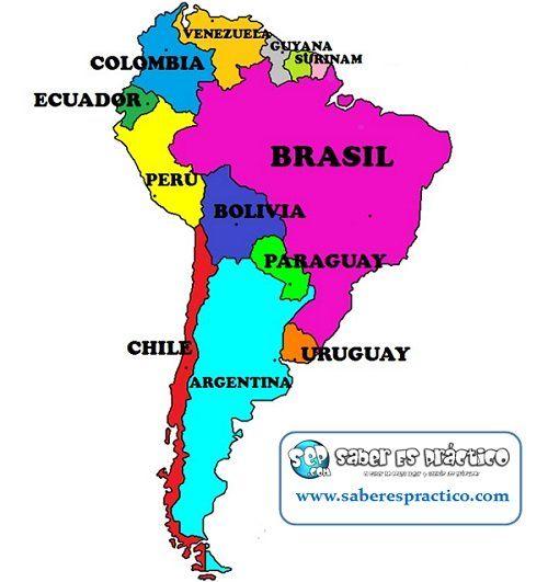 Mapa Con Los Países De América Del Sur Mapa De America Latina Mapa De America Mapa De America Del Sur