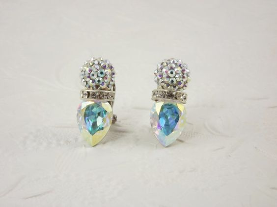 Clear Rhinestone Earrings Pear Shape Aurora Borealis by STLvintage