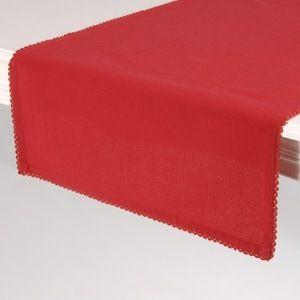 Chemin de table rouge linge de table Déco rouge Décoration de table conviviale avec ce chemin de table rouge 100% coton de qualité. Charme intemporel pour une table élégante. Dimensions : 150 x 45 cm