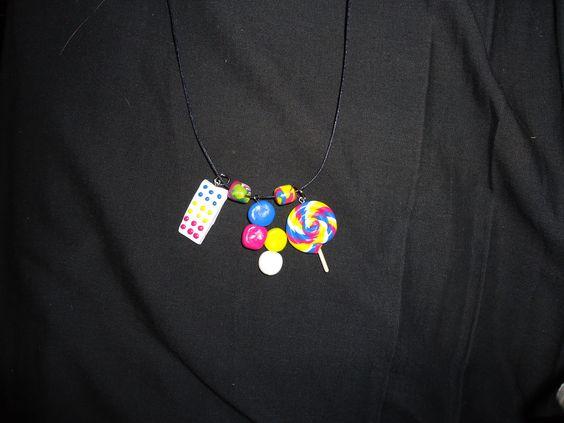 """Guilt-Free Candy"" Necklace, polymer clay ~*~Lisa Borth~*~  www.facebook.com/CreativityBehindBrokenGlass"