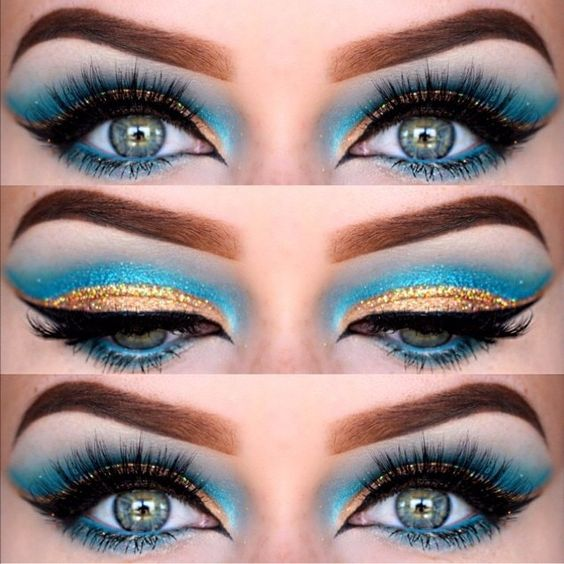 Love this Blue and Gold Eye #Makeup Look With an Egyptian Influence ❤'d by http://makeupartistrycairns.com.au/