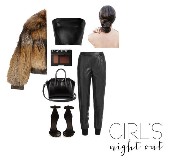 """""""Girls Night Out"""" by thais-derjangocyan ❤ liked on Polyvore featuring Vince, David Koma, Alexander McQueen, Isabel Marant, Givenchy, NARS Cosmetics, women's clothing, women, female and woman"""
