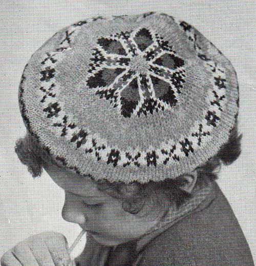 Free Baby Knitting Patterns For Blankets : Larch vintage beret in traditional fair-isle knitting. Free pattern. Crafts...