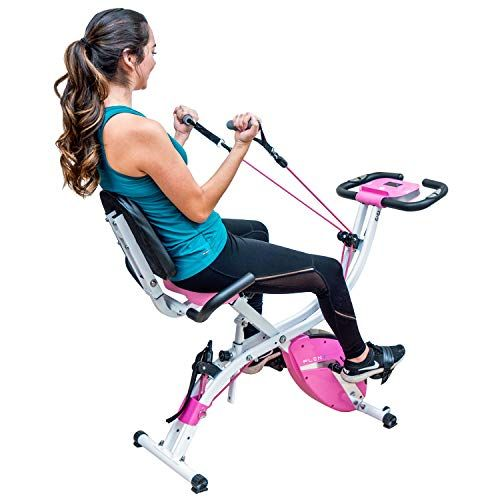 Pleny 3 In 1 Total Body Workout Exercise Bike W Backlit Screen High Backrest Adjustable Resistance Bands For Arm Leg And 300 Lbs Weight Support Biking Workout Recumbent Bike Workout Exercise Bikes