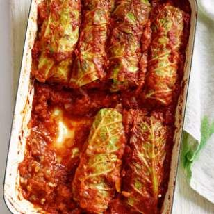 Vegan Stuffed Cabbage Recipe (stuffed with brown rice, mushrooms, onions, garlic, pine nuts and spices)